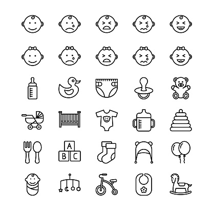 Baby outline icon set