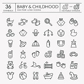 istock Baby outline icons. Editable stroke. Vector set. 962186754