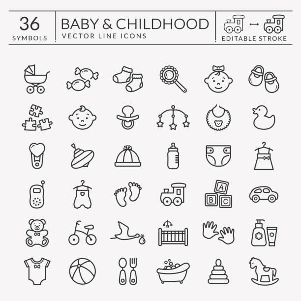 bildbanksillustrationer, clip art samt tecknat material och ikoner med baby disposition ikoner. redigerbara stroke. vektor set. - baby bathtub