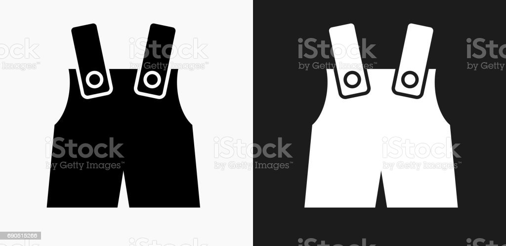 Baby Overalls Icon on Black and White Vector Backgrounds vector art illustration