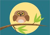Stylised cartoon of young owl perched on a tree branch with moon in background. All elements are on separate and editable layers. Download includes an AI8 EPS vector file and a high resolution JPEG file (min. 1900 x 2800 pixels).