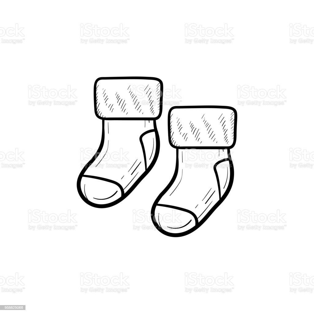 Ilustración de Par De Bebé De Contorno Dibujado De La Mano De ...