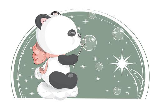 baby panda bear on cloud with soap bubbles.j