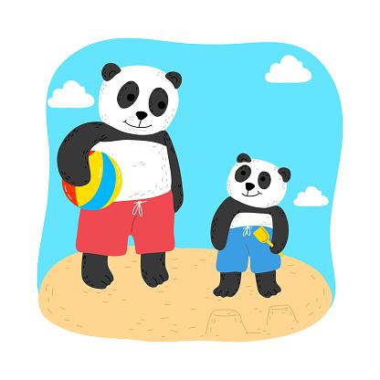 Baby panda enjoying playing ball with father on beach