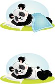 A vector illustration of a baby panda sleeping with and without a blanket. CS3 AI and PDF files are also included.