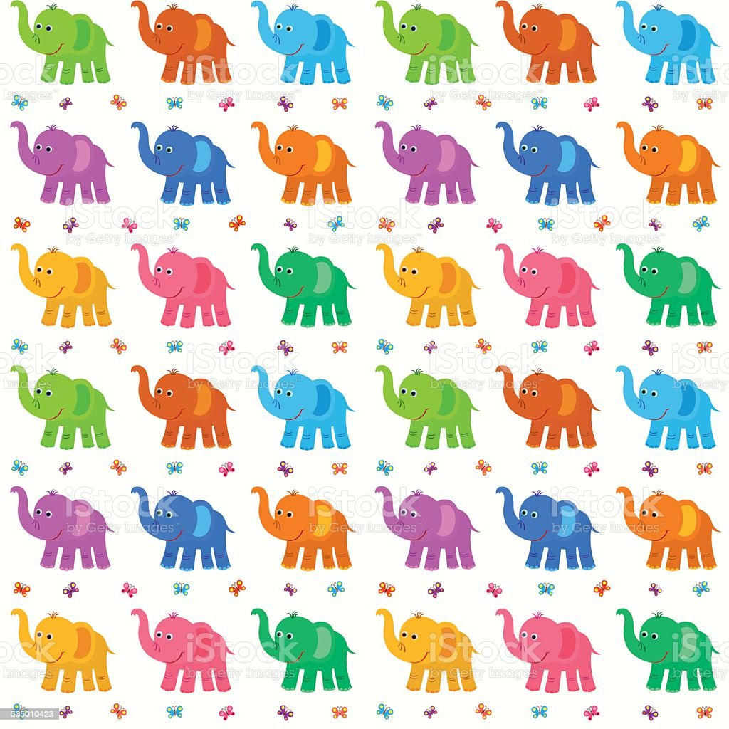 Baby Pattern With Colored Elephants Royalty Free Stock Vector Art