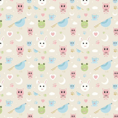 Baby pattern with cute animals and birds