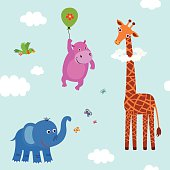 Baby pattern with funny animals