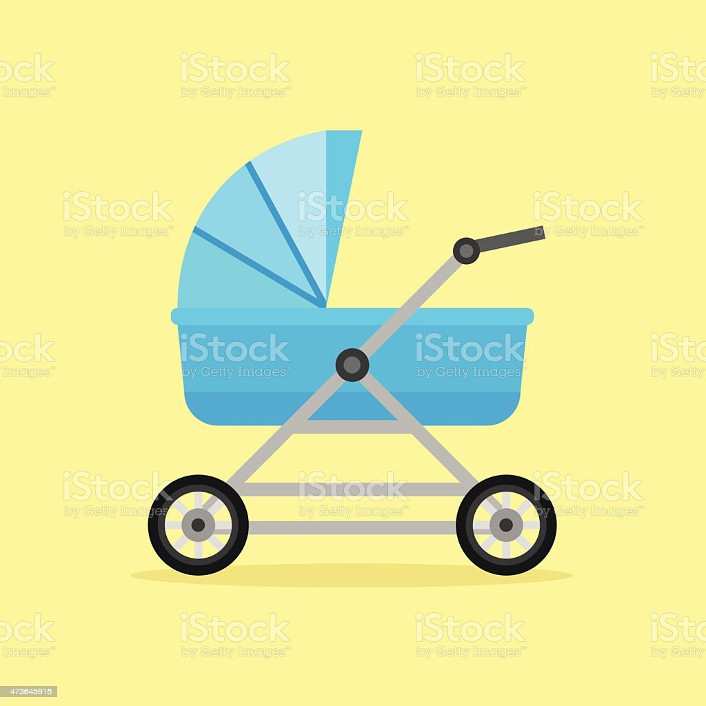 Baby perambulator vector icon vector art illustration