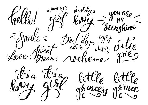 Baby photography family overlay set Lettering photography family overlay set. Motivational quote. Sweet cute inspiration typography. Calligraphy postcard poster photo graphic design element. Hand written sign. Baby photo album element sayings stock illustrations