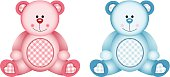 Scalable vectorial image representing a baby pink and baby blue, isolated on white. EPS 10.