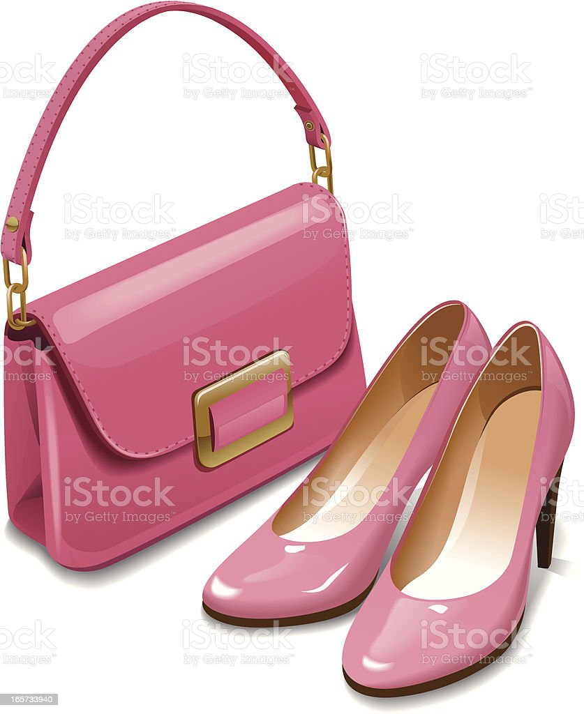 baby pink shoes with a matching bag stock vector
