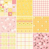 A set of textile / wallpaper seamless patterns. Zip contains AI, EPS and large JPG.