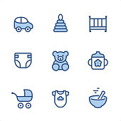 Baby icons set #51 Specification: 9 icons, 48x48 pх, blue stroke weight 2 px. Features: Pixel Perfect, Single line, Color-filled parts.  First row of icons contains: Car Toy, Pyramid, Crib;  Second row contains: Diaper, Teddy Bear, Baby Cup;  Third row contains: Baby Carriage, Infant Bodysuit, Baby Bowl.  Complete Ninico Blue collection - https://www.istockphoto.com/collaboration/boards/KZ1_tG41mEa7_qCGyBYMqA
