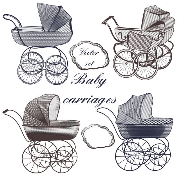 Baby plams hand drawn in engraved style Set of vector baby prams hand drawn in engraved style baby carriage stock illustrations