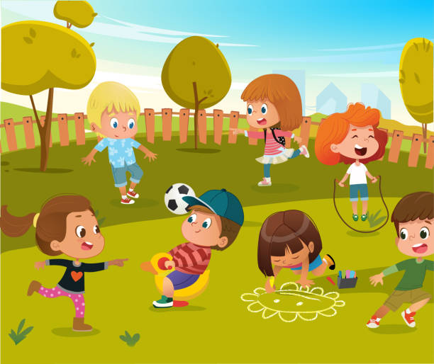 Baby Play Kindergarten Playground Illustration. Children Play Football and Swing Outdoor in Summer Green Tree Park. Happy Boy and Girl Vector Cartoon Character Activity Toy Equipment vector art illustration