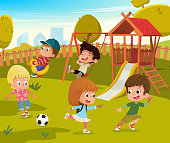 Baby Playground Summer Park Vector Illustration. Children Play Football and Swing Outdoor in School Yard Kindergarten. Little Child Game in Nature. Boy and Girl Cartoon Character Activity Concept.