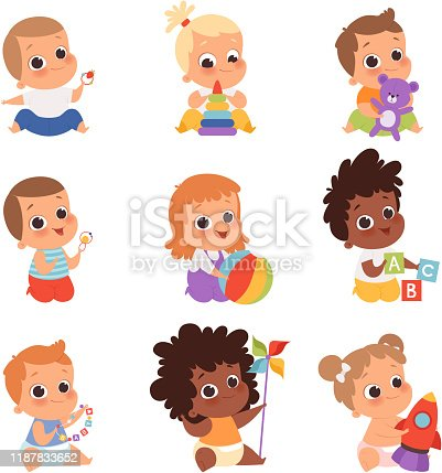 istock Baby playing. Cute little kids newborn 1 years baby characters eating and sitting with toys happy childhood vector cartoon 1187833652