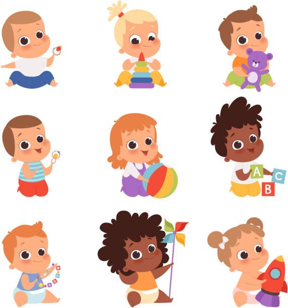 赤ちゃんの遊び。かわいい小さな子供新生児1歳の赤ちゃんのキャラクターが食べて、おもちゃ幸せな子供時代のベクトル漫画で座っている - 赤ちゃん点のイラスト素材/クリップアート素材/マンガ素材/アイコン素材