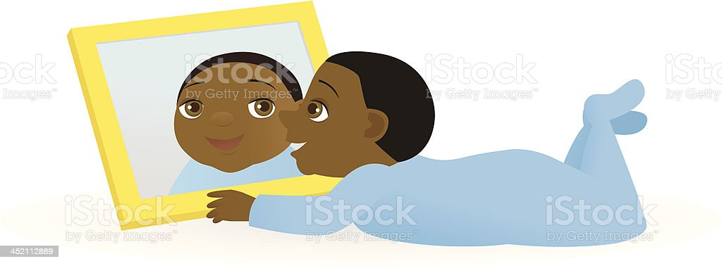 Baby Playing With Mirror royalty-free stock vector art