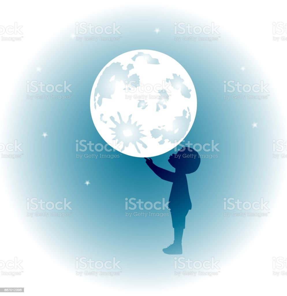 baby playing with moon vector art illustration