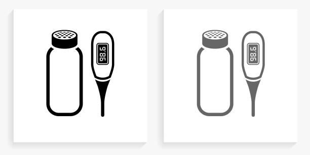 stockillustraties, clipart, cartoons en iconen met baby poeder en thermometer zwart en wit vierkant pictogram - talk