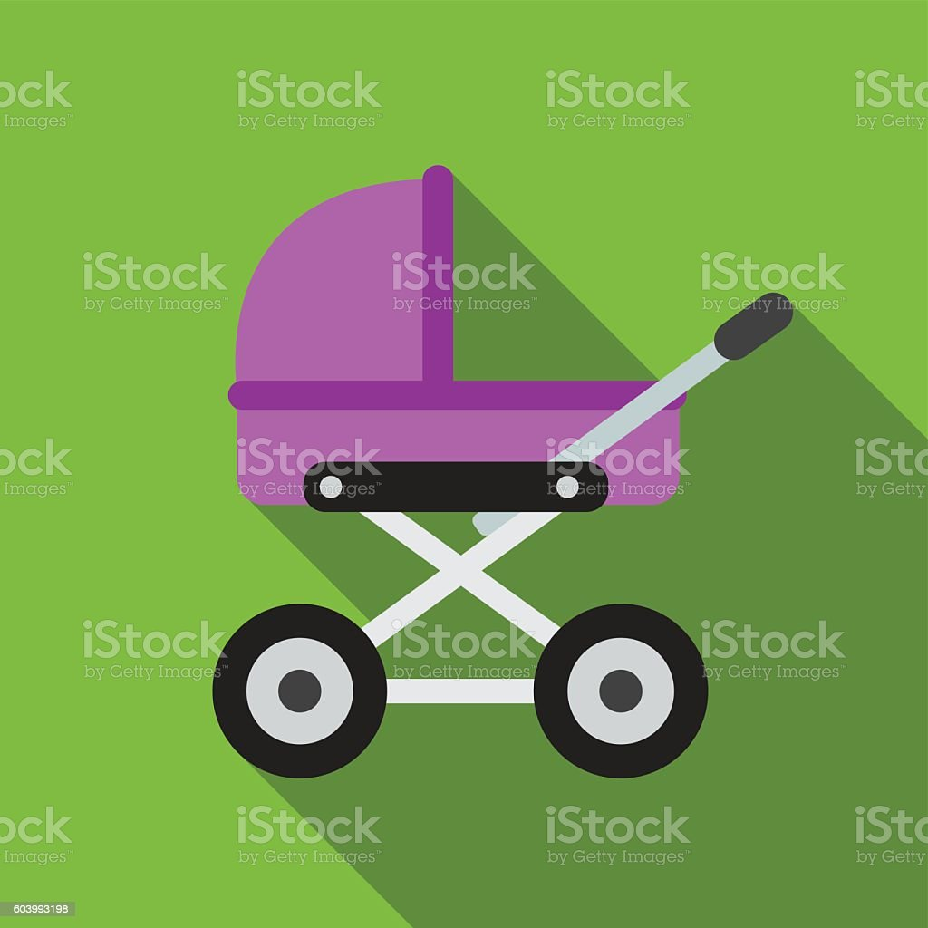 Baby pram flat icon illustration vector art illustration