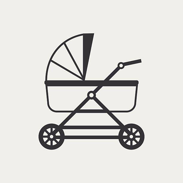 Baby pram monochrome icon vector art illustration