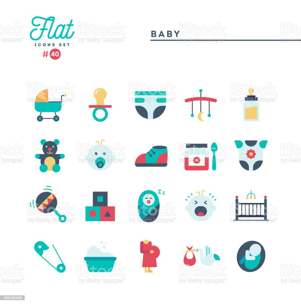 Baby, pregnancy, birth, toys and more, flat icons set vector art illustration
