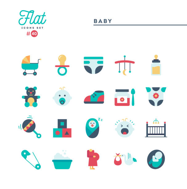 Bекторная иллюстрация Baby, pregnancy, birth, toys and more, flat icons set
