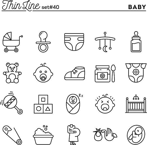 ベビー、妊娠、誕生、おもちゃなど、細い線アイコンを設定します。 - 出産点のイラスト素材/クリップアート素材/マンガ素材/アイコン素材