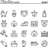 Baby, pregnancy, birth, toys and more, thin line icons set
