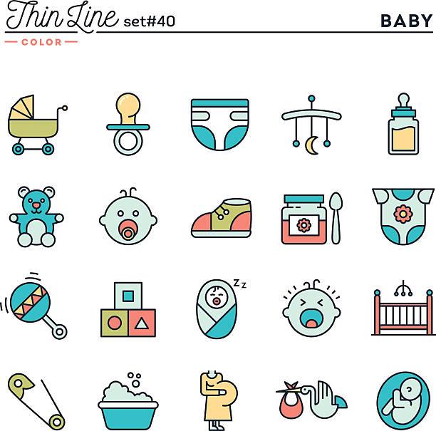 baby, schwangerschaft, geburt, spielzeug und vieles mehr - kindergesichtsfarben stock-grafiken, -clipart, -cartoons und -symbole