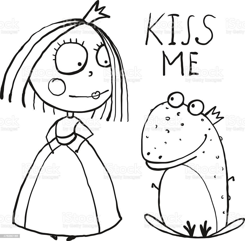 Baby Princess And Frog Asking For Kiss Coloring Page Stock Vector ...