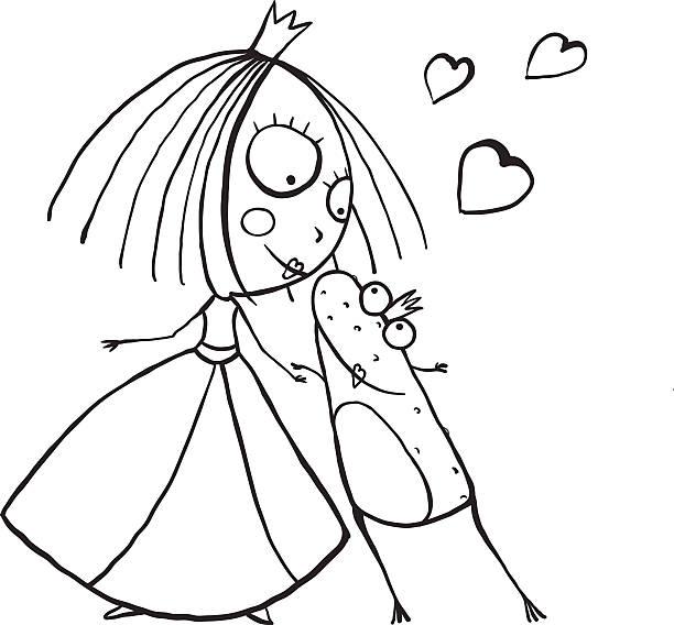girl kissing frog illustrations royaltyfree vector