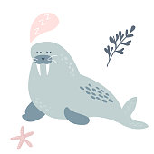 Baby print with dreaming walrus. Hand drawn graphic for poster, card, label, flyer, page, banner, baby wear, nursery. Scandinavian style. Vector illustration