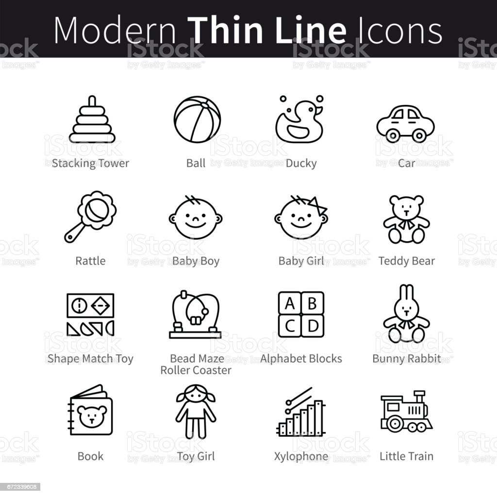 Baby products and games thin line art icons vector art illustration