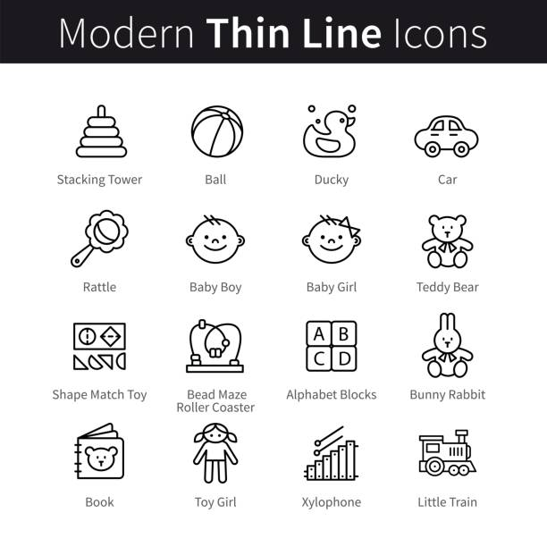 baby products and games thin line art icons - przedszkole stock illustrations