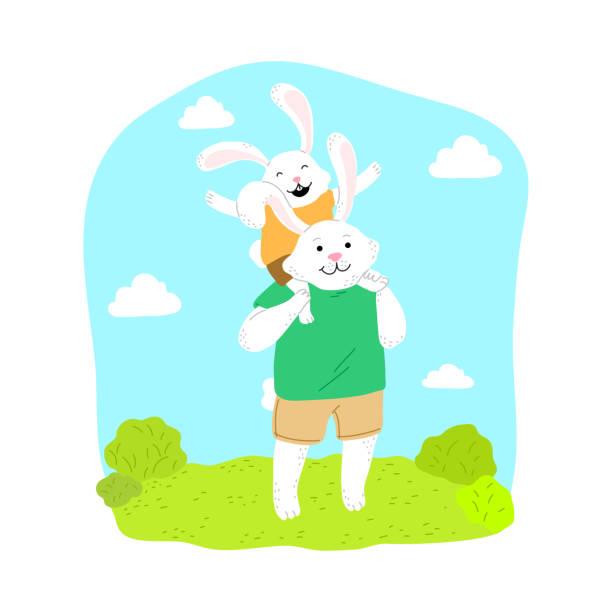 ilustrações de stock, clip art, desenhos animados e ícones de baby rabbit enjoying sitting on fathers shoulders in park - tronco nu