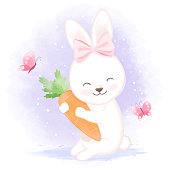 Baby rabbit with carrot, hand drawn cartoon watercolor illustration