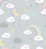 Baby Rainbow Sky Repeating Vector Pattern