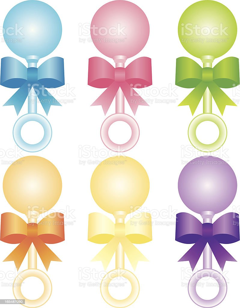 Baby Rattles in Many Colors vector art illustration