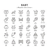 Baby - Regular Line Icons - Vector EPS 10 File, Pixel Perfect 30 Icons.