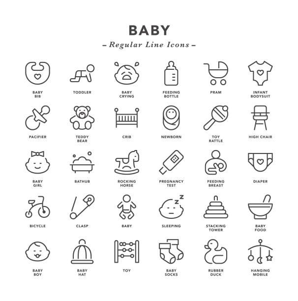 ilustrações, clipart, desenhos animados e ícones de bebê - ícones de linha regular - bebês