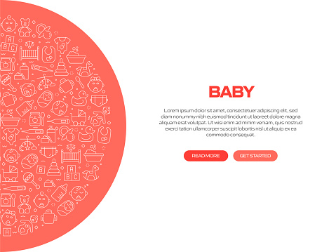 Baby Related Banner Design with Pattern. Modern Line Style Icons Vector Illustration