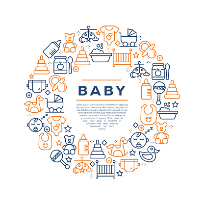Baby Related Concept - Colorful Line Icons, Arranged in Circle