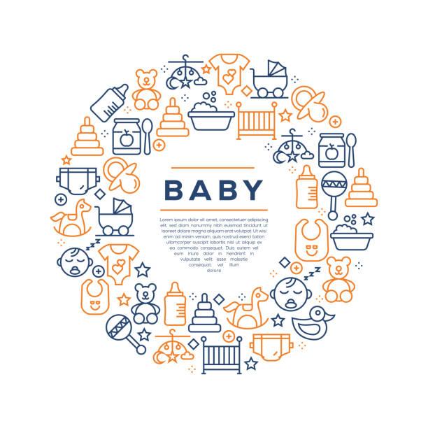 baby related concept-colorful line icons, arrangiert im kreis - elternhochzeitsgeschenke stock-grafiken, -clipart, -cartoons und -symbole