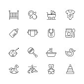 Baby Related - Set of Thin Line Vector Icons