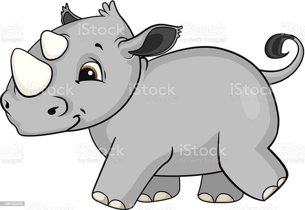 Baby Rhino Cartoon royalty-free stock vector art
