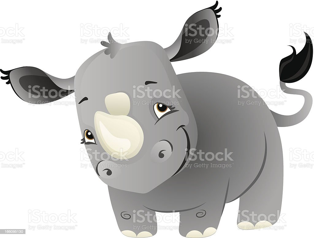 Baby Rhino vector art illustration